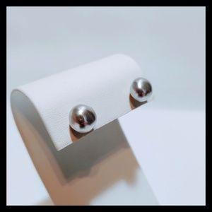 Vtg. Grey Tahitian Pearl Stud Earrings